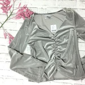 Silver ruched velvet crop top bell sleeve M